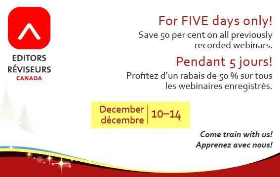 Editors Canada webinar recordings flash sale