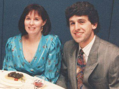 Barbara Hehner and her husband, Eric Zweig, at the wedding of Editors Canada member Greg Ioannou on October 24, 1992.