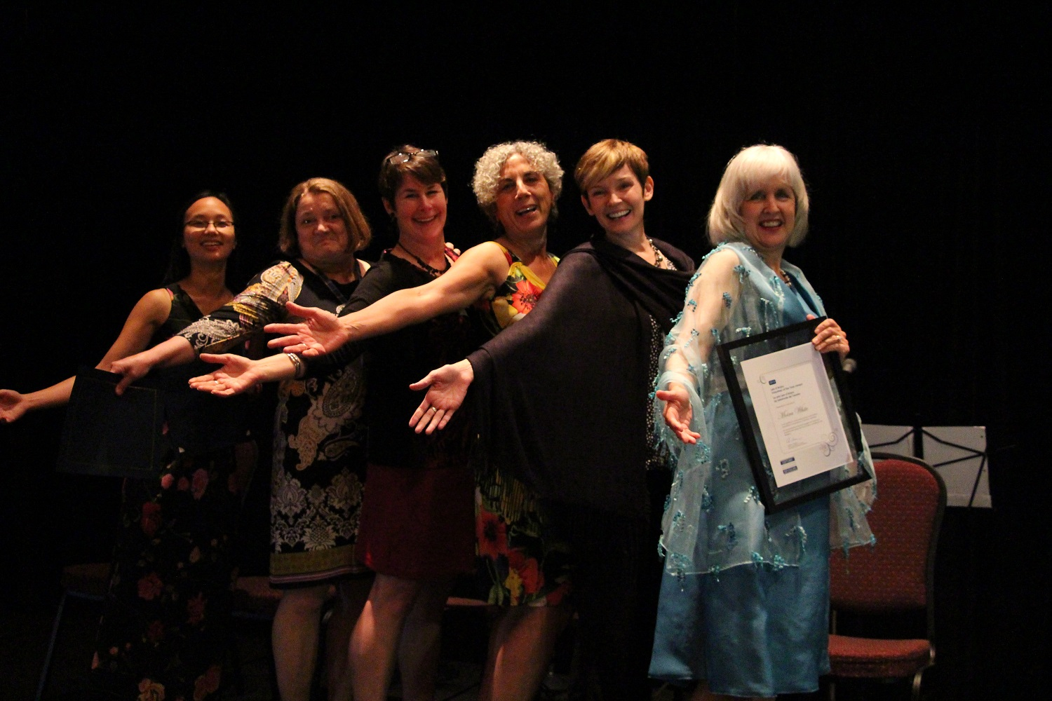 2013 EAC President's Award recipients (L-R) Iva Cheung, Anne Curry, Nancy Holland, Valerie Mansour, Brooke Smith and Lee d'Anjou Volunteer of the Year Moira White.