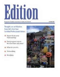 Edition - Editors Toronto newsletter October 2009