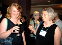 Theresa Best and Helen Clay share a laugh at the awards banquet
