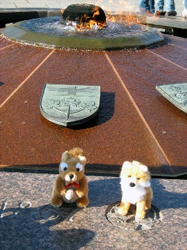 Squirrel and Fox take in the Centennial Flame on Parliament Hill.