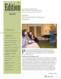 Edition - Editors Toronto newsletter March 2006