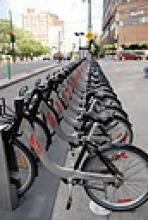 A row of bicycles in downtown Montreal