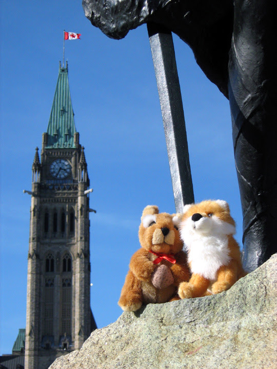 Stuffed toys in front of the Peace Tower on Parliament Hill at the Editors Canada 2012 conference in Ottawa